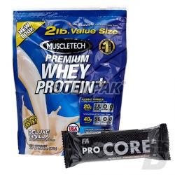 MuscleTech 100% Premium Whey Protein PLUS - 907g + FA CORE ProCore Protein Bar – 80g GRATIS