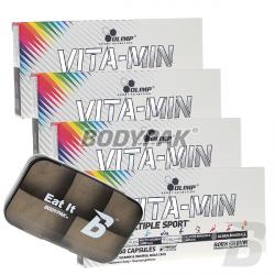 Olimp Vita-Min multiple Sport 4x 60kaps. + BODYPAK Pillbox BLACK – 1 szt.