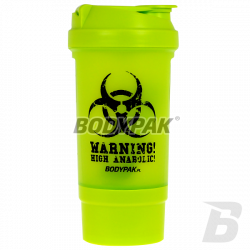 BODYPAK Shaker + Pillbox green WARNING 500ml