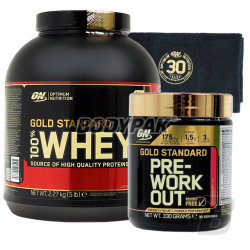 ON 100% Whey Gold Standard - 2270g + ON Gold Standard PreWorkout - 330g + ON Ręcznik Gold - 1 szt.