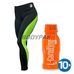 B-WEAR Legginsy BASIC ZIELONE [DAMSKIE] - 1 szt. + 10x Fitness Authority L-Carnitine 1000 - 100ml