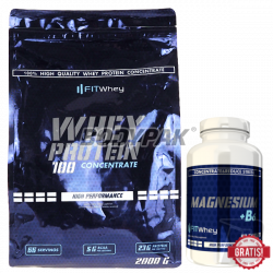 FitWhey Whey Protein 100 Concentrate - 2000g +Magnesium + B6 - 90 tabl. GRATIS