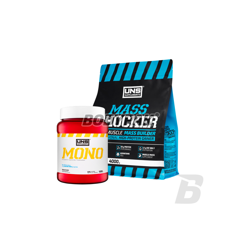 UNS Mass Shocker - 4kg + UNS Mono Extreme Pure - 600g [GRATIS] - 125,00 PLN  - Supplements and sport nutrition - Store BODYPAK