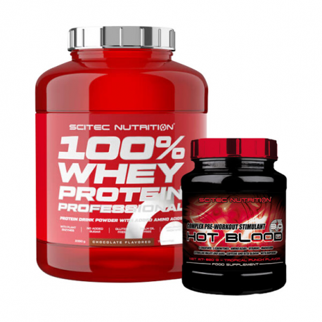 Scitec 100% Whey Protein Professional - 2350g + Scitec Hot Blood 3.0 - 300g